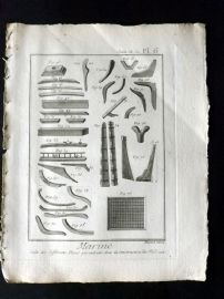 Diderot C1790 Antique Ship Print. Marine 06 Boat Construction Tools